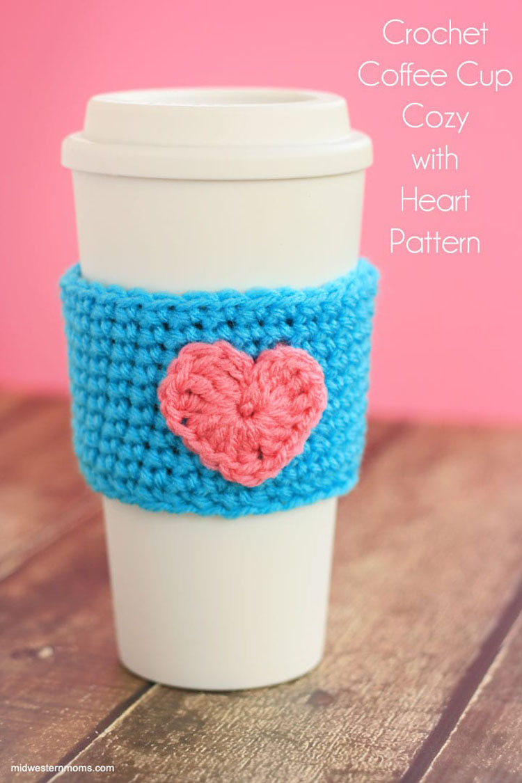 CROCHET COFFEE CUP COZY WITH HEART