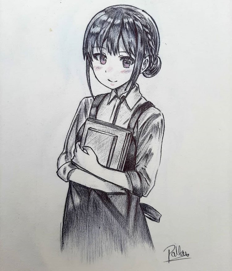 SCHOOL GIRL WITH CARRYING BOOKS