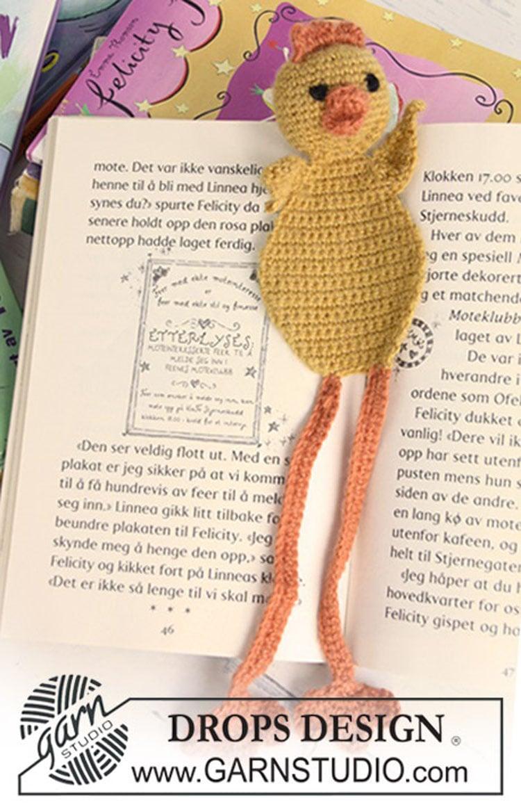 free chick crochet bookmark pattern