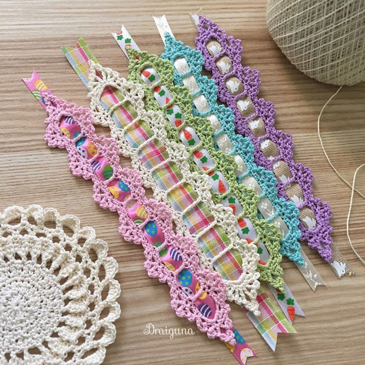 free ribbon and lace crochet bookmark