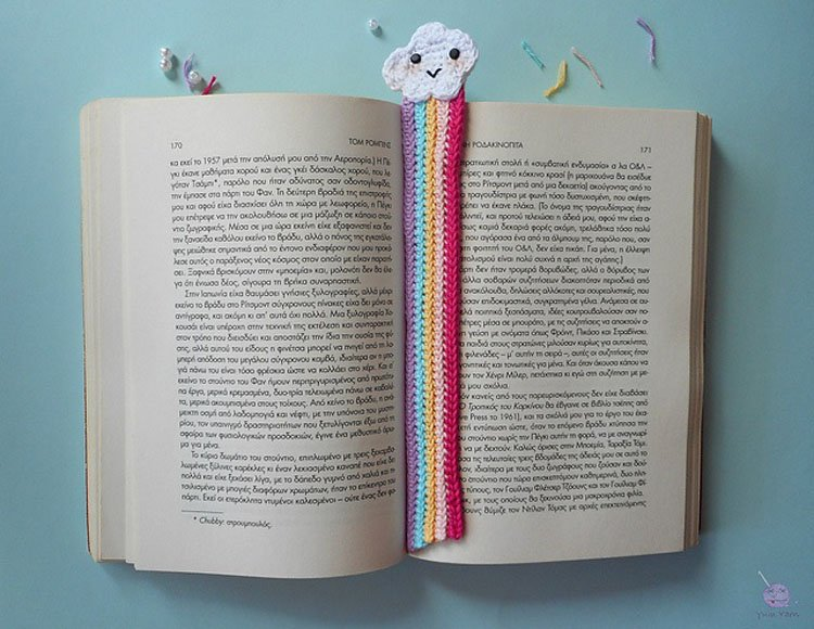 free crochet rainbow and clouds bookmark