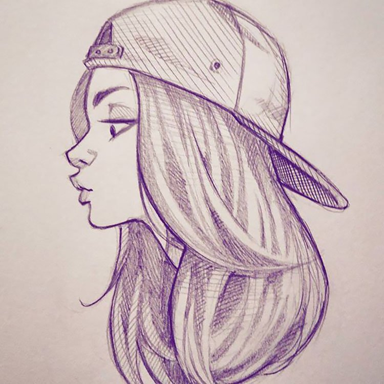 GIRL WITH BACK FACING HAT