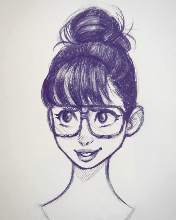 GIRL WITH BUN AND GLASSES