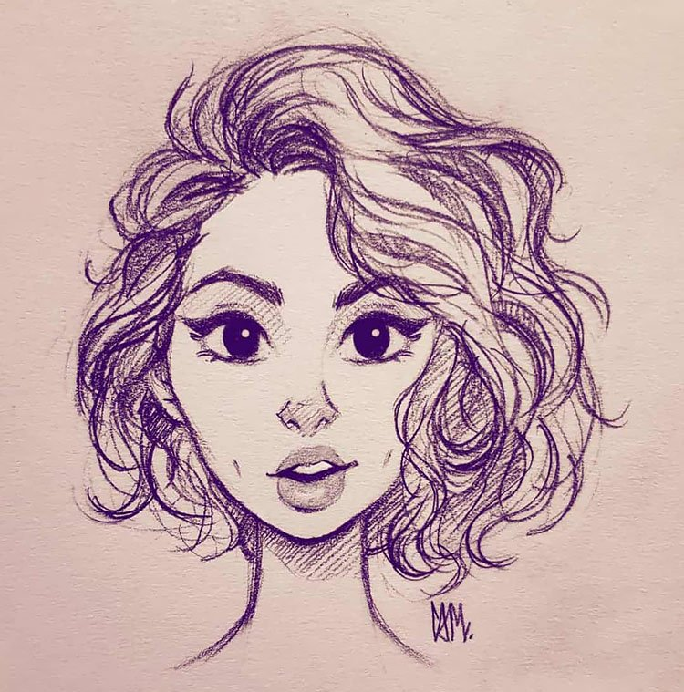 GIRL WITH SHORT WAVY HAIR