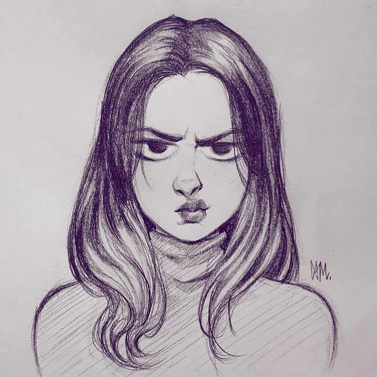 GIRL WITH GRUMPY FACE