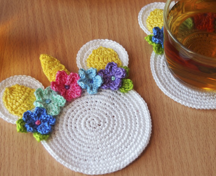 unicorn crochet coaster