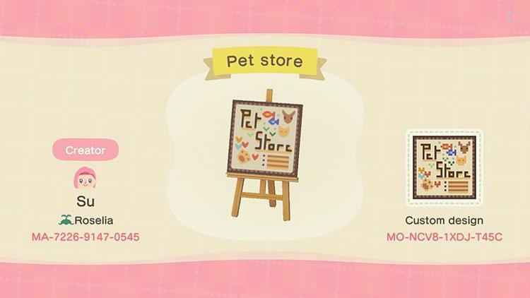 Pet store sign