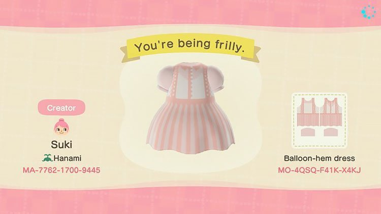 You're being frilly dress