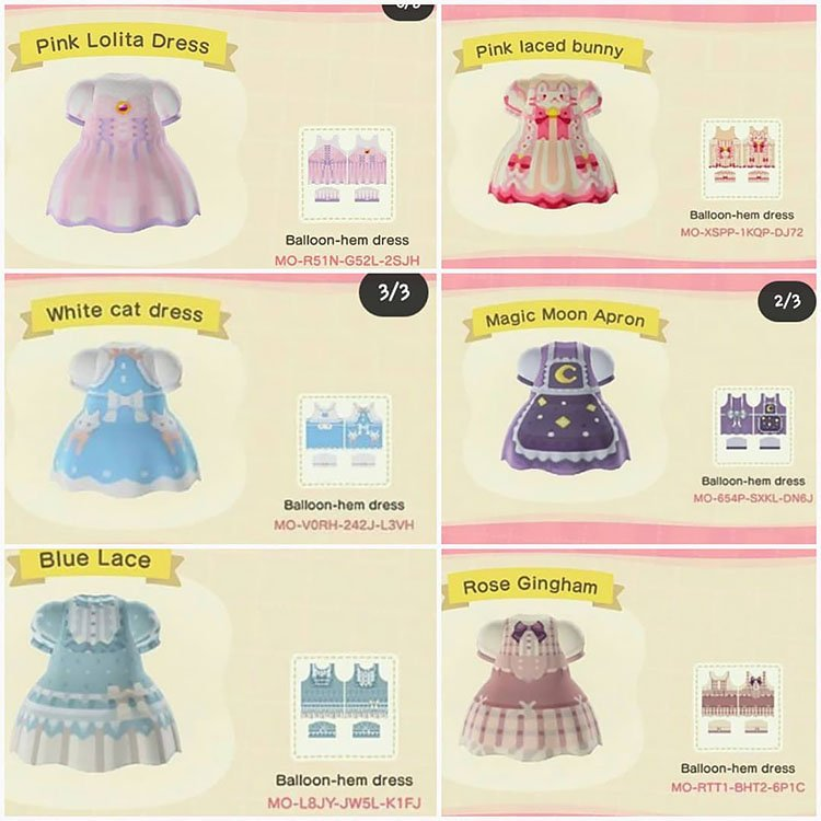 Six balloon dresses such as a pink laced bunny dress and a rose gingham dress.