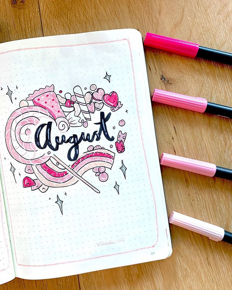 august cover page with candy
