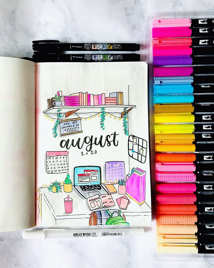office theme august bullet journal cover page