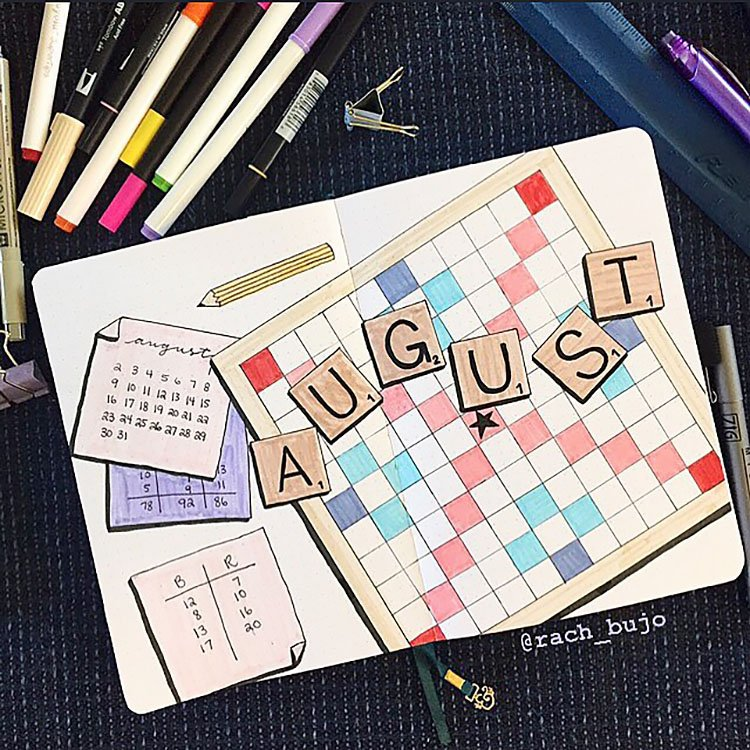 scrabble bullet journal page for august