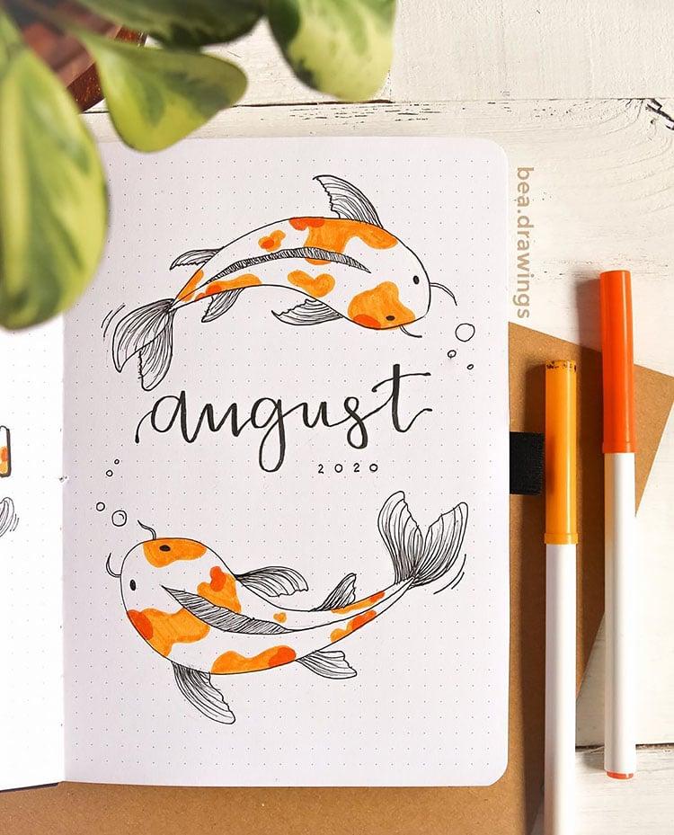 koi fish august bullet journal cover