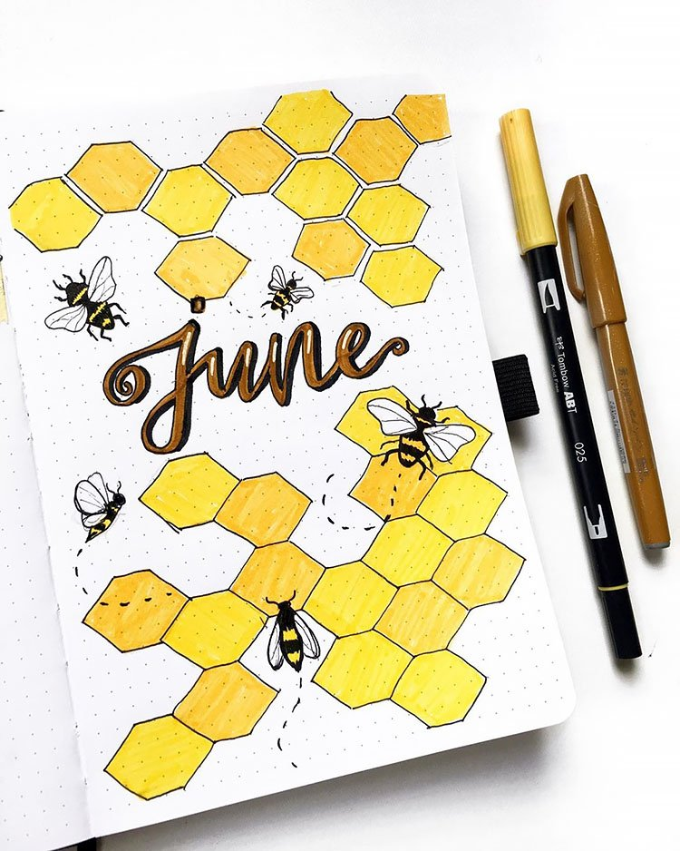 HONEYCOMB AND BEES JUNE COVER PAGE