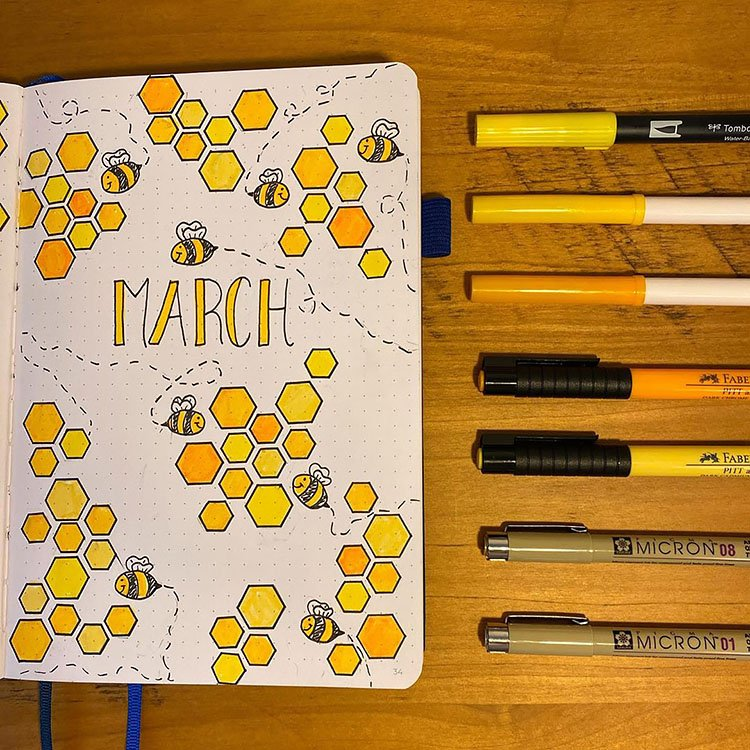 MARCH BEES AND HONEYCOMB COVER PAGE