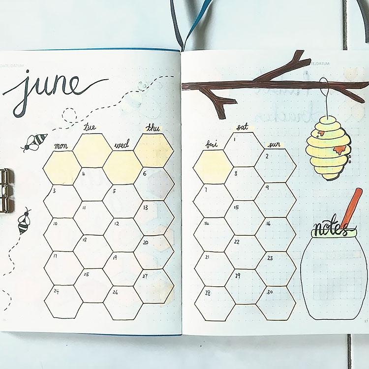 JUNE BEE THEMED CALENDAR