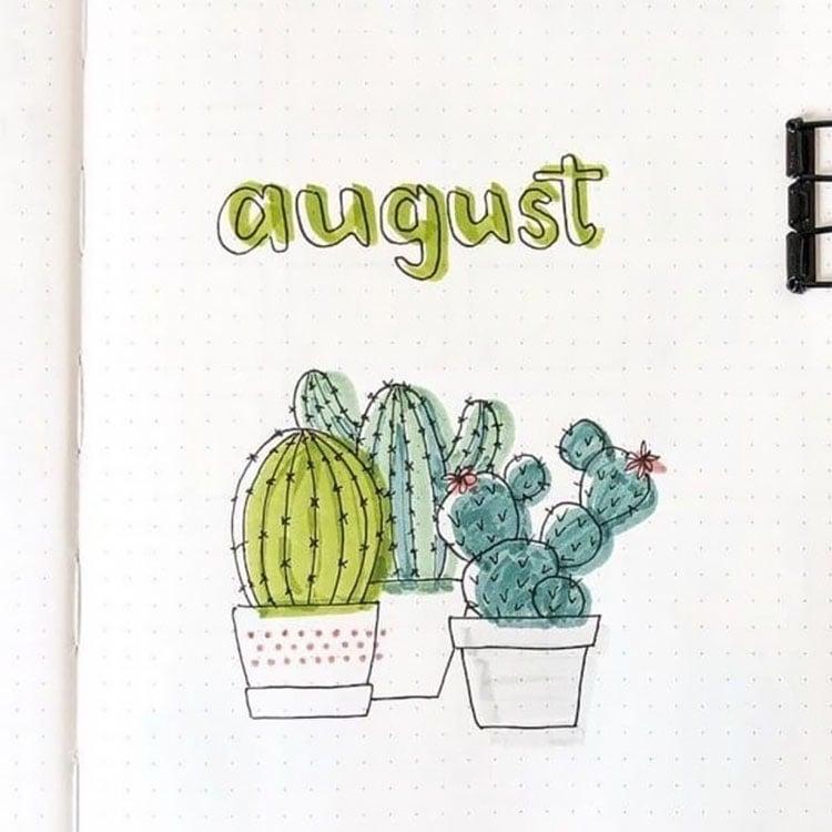 cactus august bullet journal