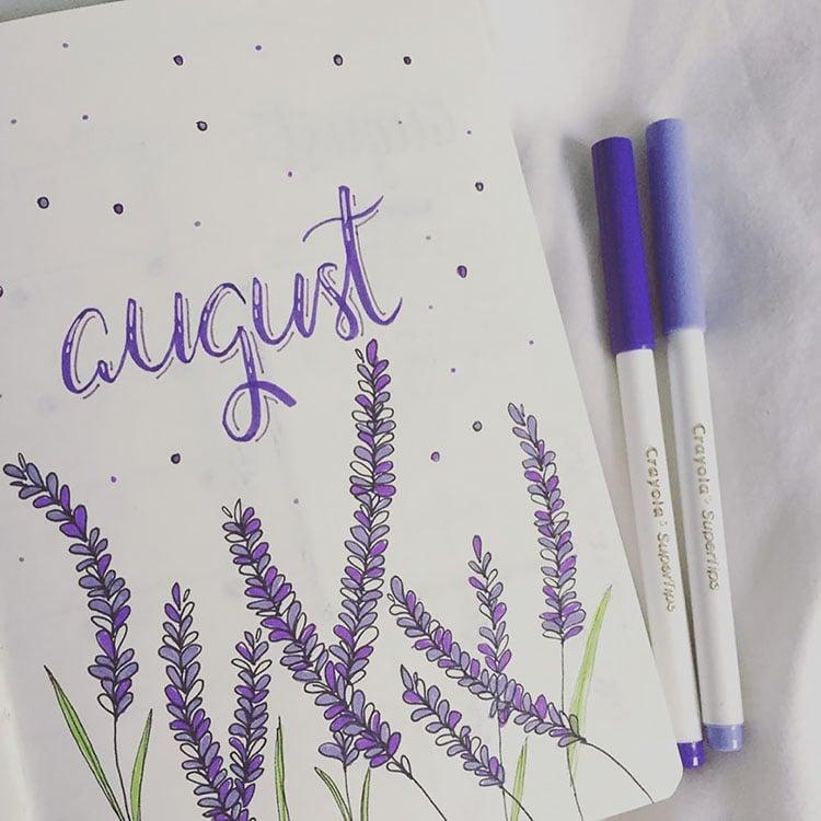 lavender august bullet journal