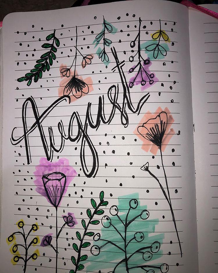 flower august bullet journal