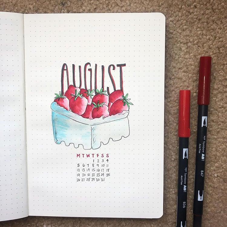 strawberries august bullet journal