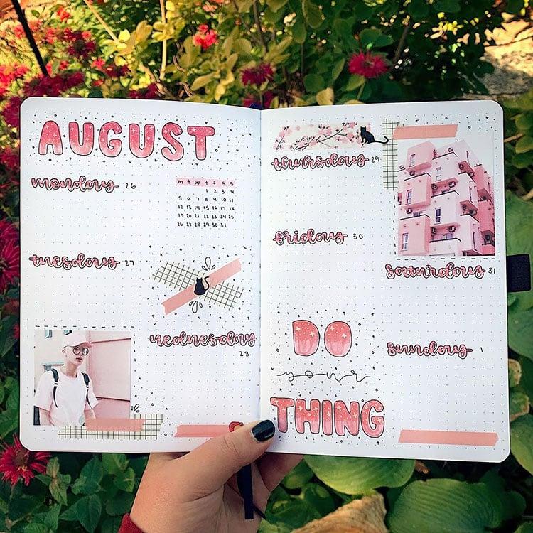 k-pop august bullet journal
