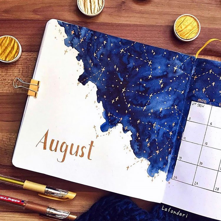 constellations august bullet journal