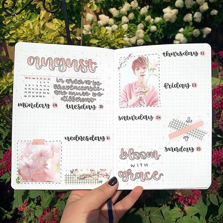 k-pop august bullet journal spread