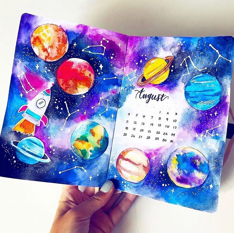 outer space august bullet journal