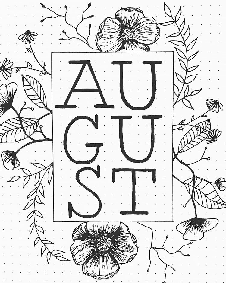 simple floral august bullet journal