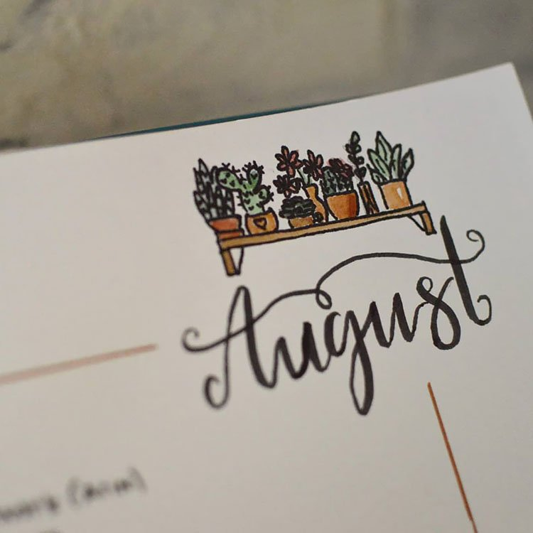 simple august title with plants