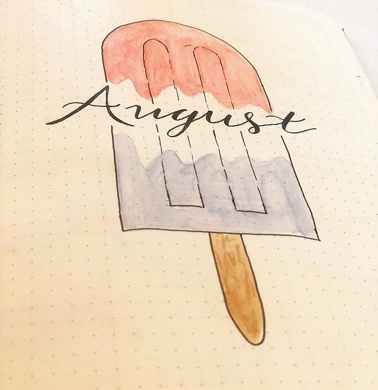 Popsicle august bullet journal