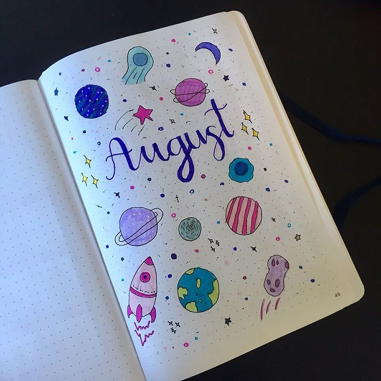 planets august bullet journal