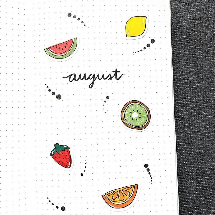 fruit august bullet journal