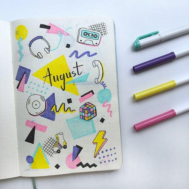 retro 80's august bullet journal
