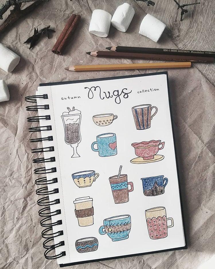 autumn mugs drawings