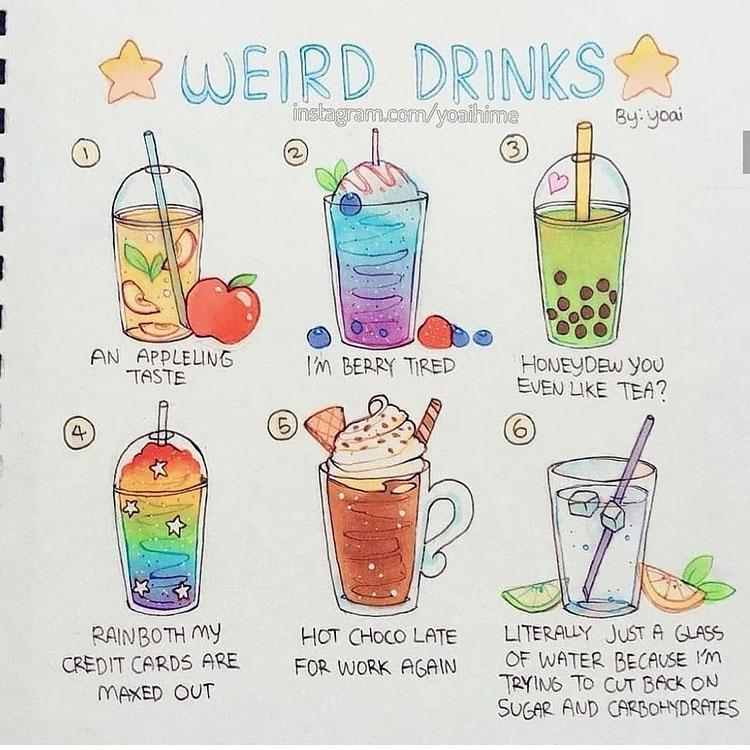 weird drinks drawings