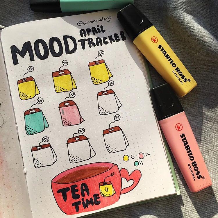 tea bag tea time mood tracker