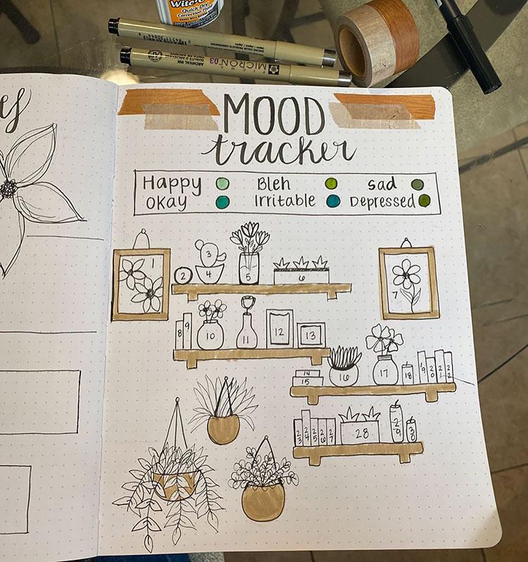 plant and bookshelf mood tracker