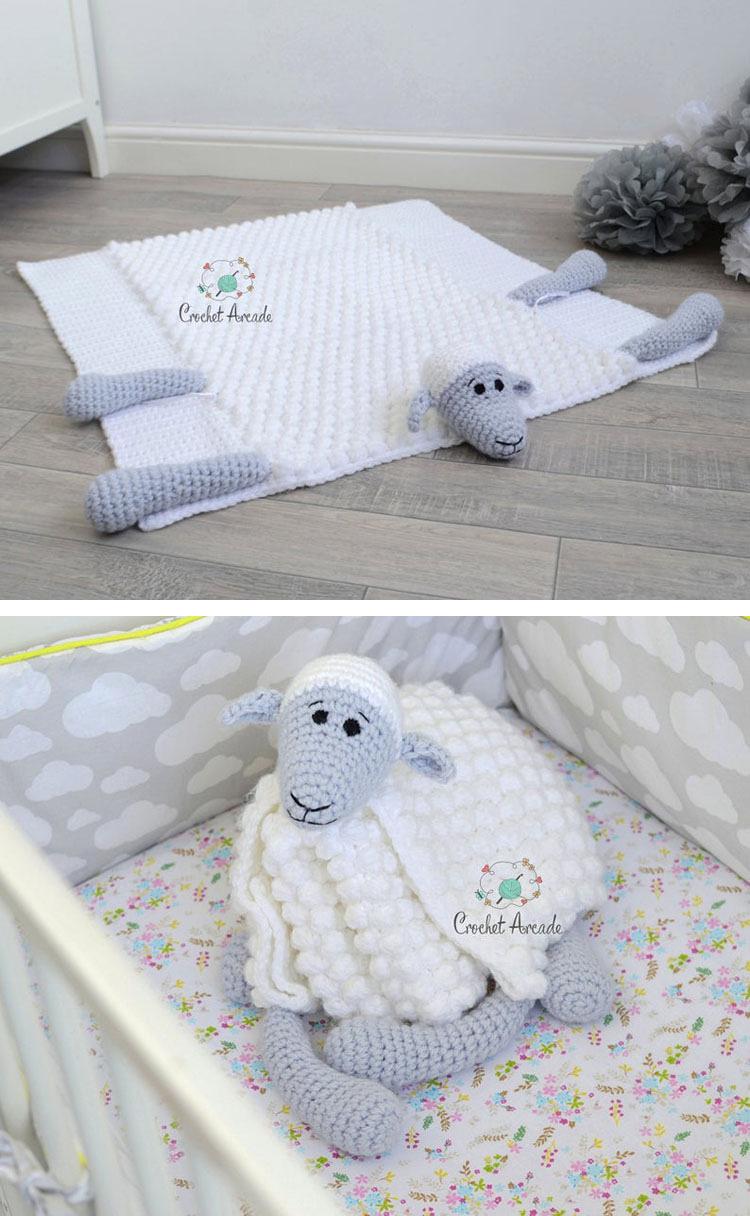 SHEEP CROCHET BABY BLANKET