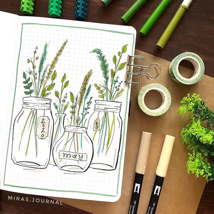 MAY COVER WITH PLANTS IN JARS