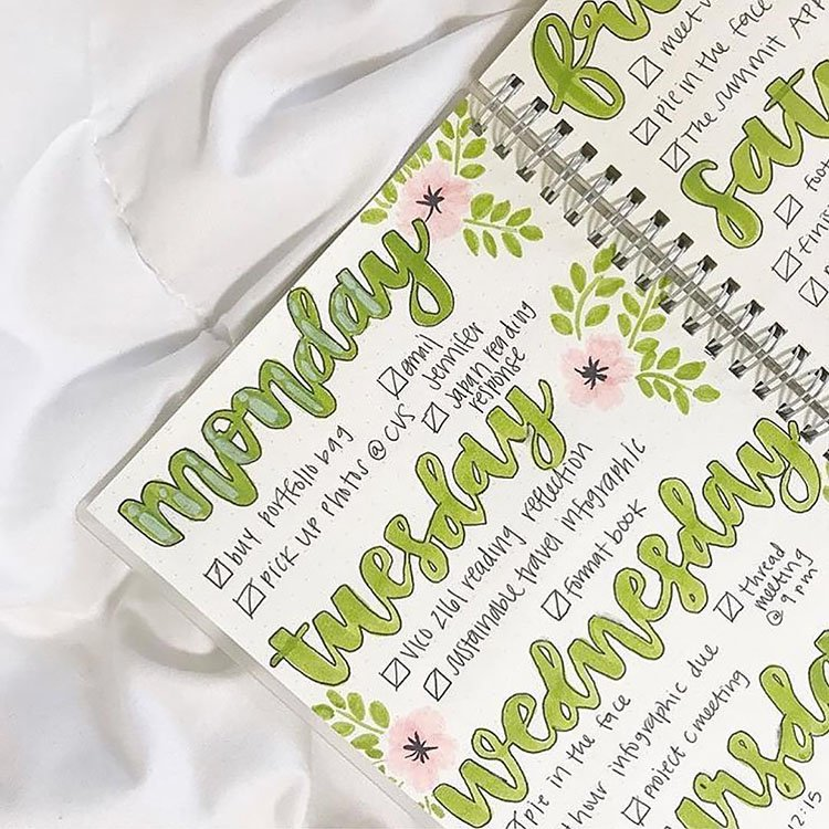 GREEN AND PINK WEEKLY PLANNER