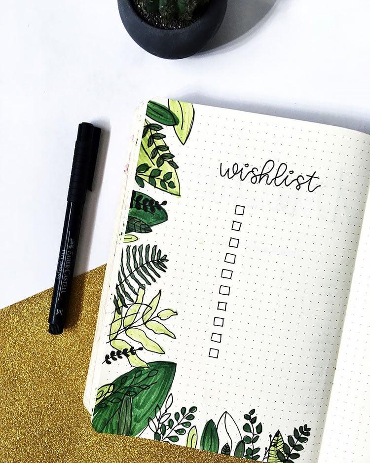 WISH LIST WITH PLANTS