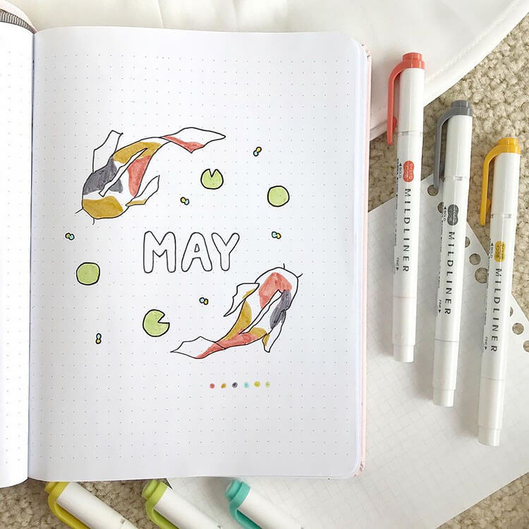 MAY BULLET JOURNAL COVER WITH KOI FISH