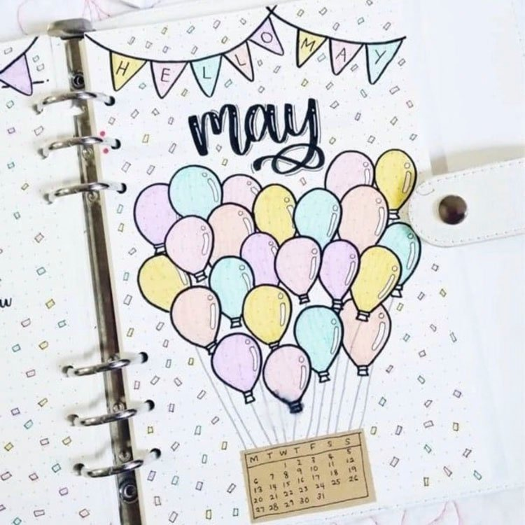 PASTEL HOT AIR BALLOON WITH CONFETTI MAY BULLET JOURNAL COVER