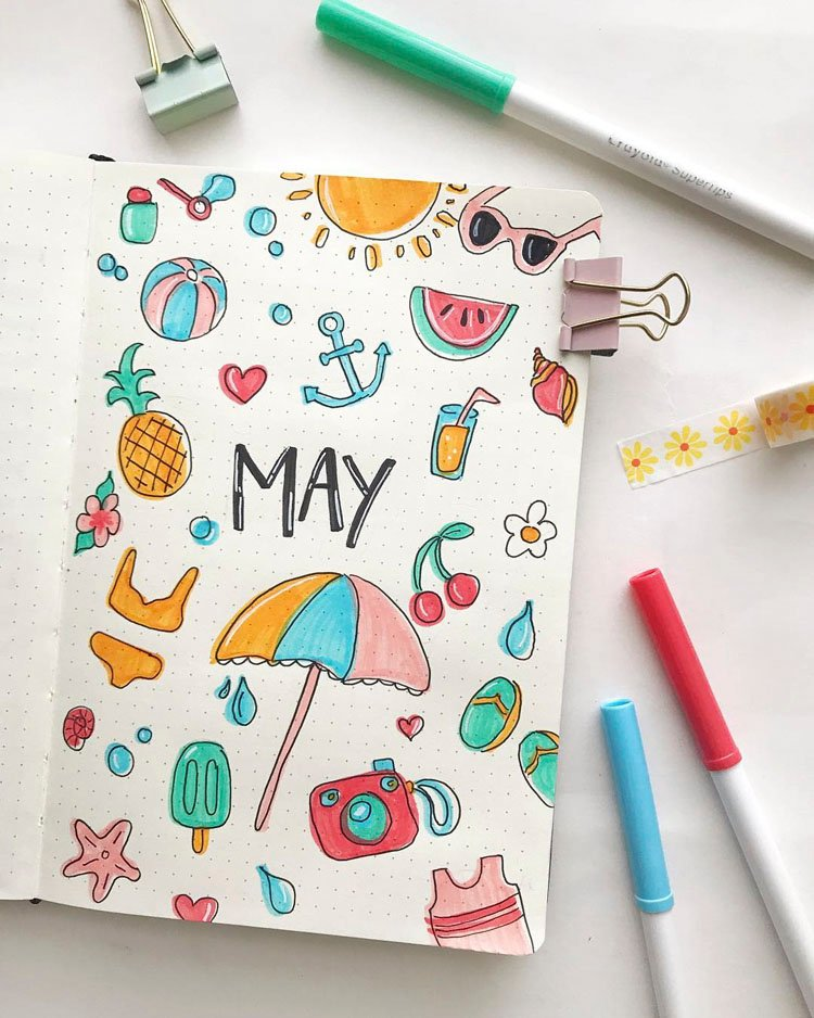 SUMMER DOODLES BULLET JOURNAL COVER FOR MAY