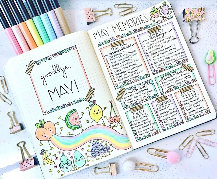 GOODBYE MAY WITH PASTEL DOODLES