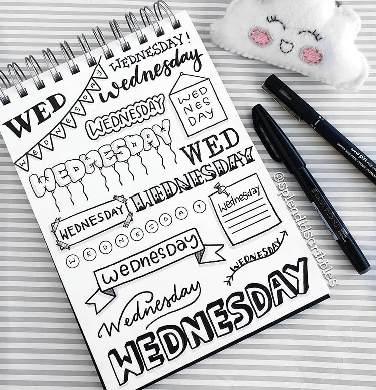 black and white wednesday bullet journal titles