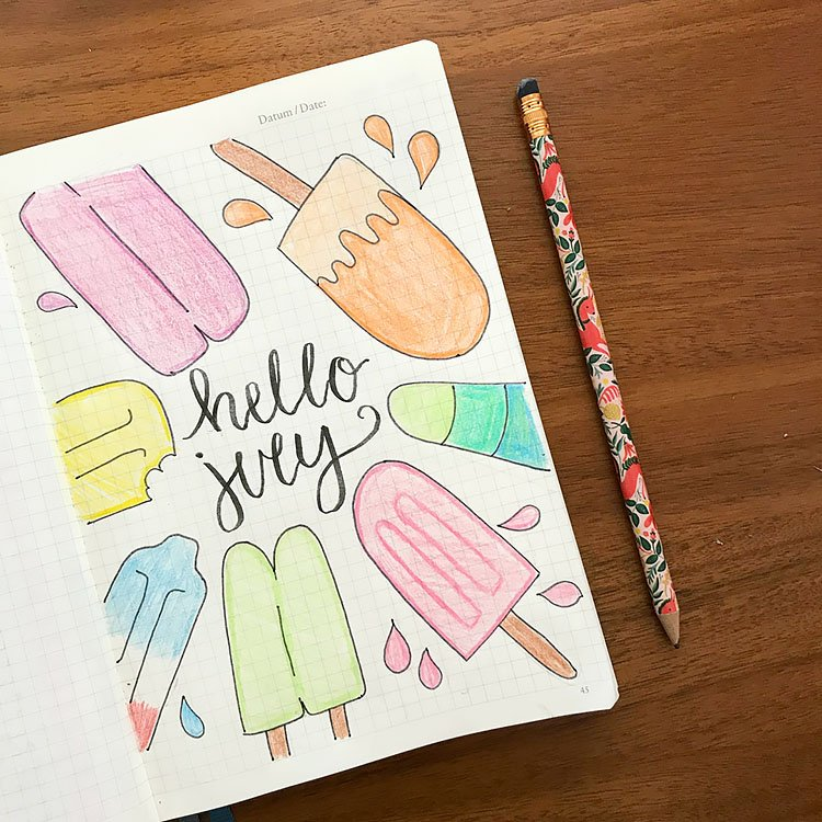 SUMMERTIME POPSICLES JULY BULLET JOURNAL COVER PAGE