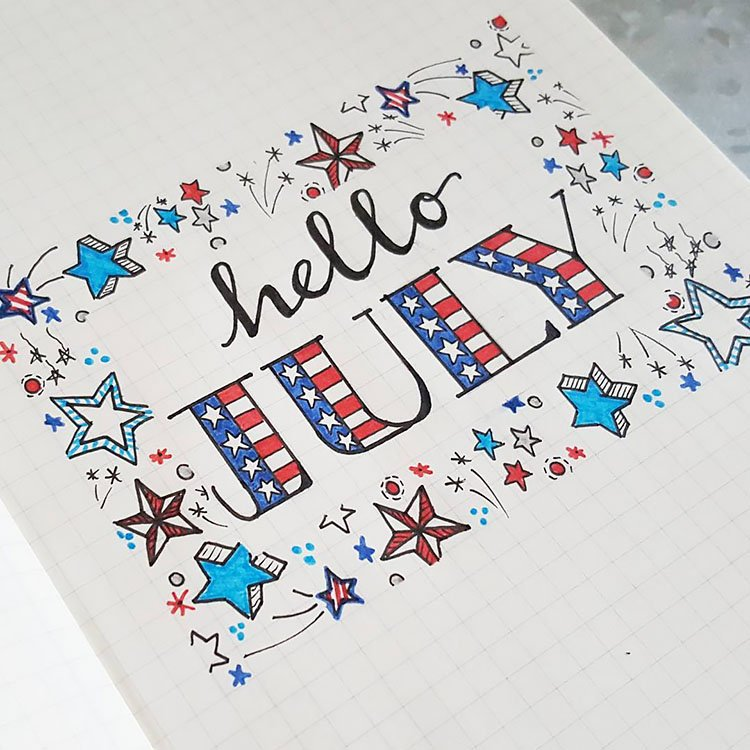STARS AND FIREWORKS JULY BULLET JOURNAL COVER