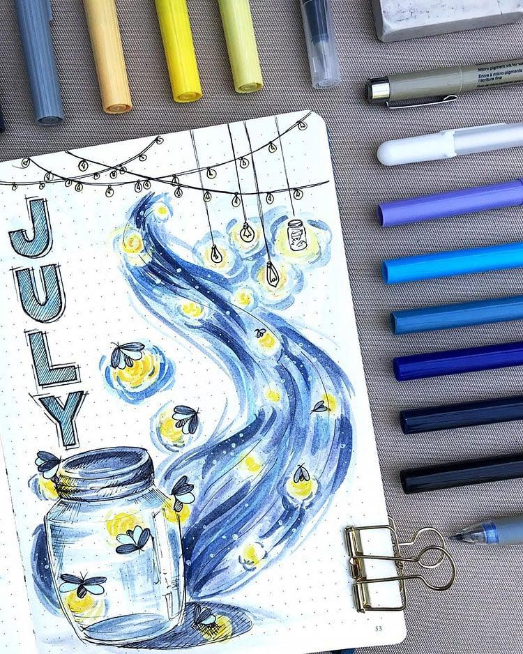 FIREFLIES IN JAR JULY BULLET JOURNAL COVER PAGE IDEAS